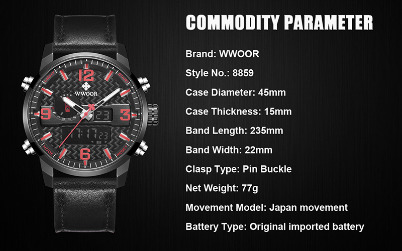 WWOOR 8859 Watch Men Top Brand Luxury Quartz Men\'s Business Military Wrist Watches Leather Analog Clock Men relogio masculino (1)