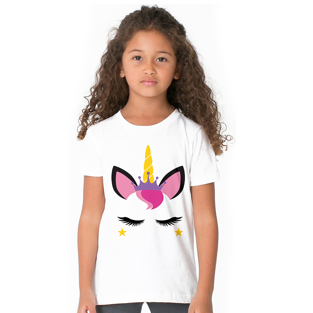 Pattern Unicorn Face Girl T-shirt Cute Design Unicorn Emoji Kids T Shirt 100% Cotton Summer Tees for Toddler Girls Baby Clothes classic plaid pattern shirt collar long sleeves slimming colorful shirt for men