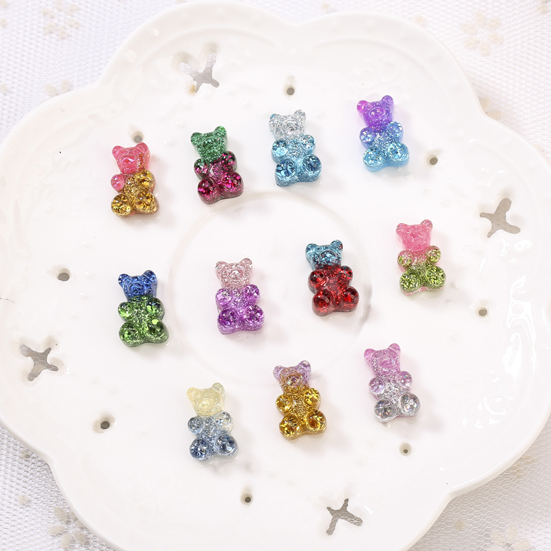 20pcs 10*17MM Glittering Sweet Gummy Bear Gradient Color Flatback Resin Cabochons Charms  For Headwear Accessories