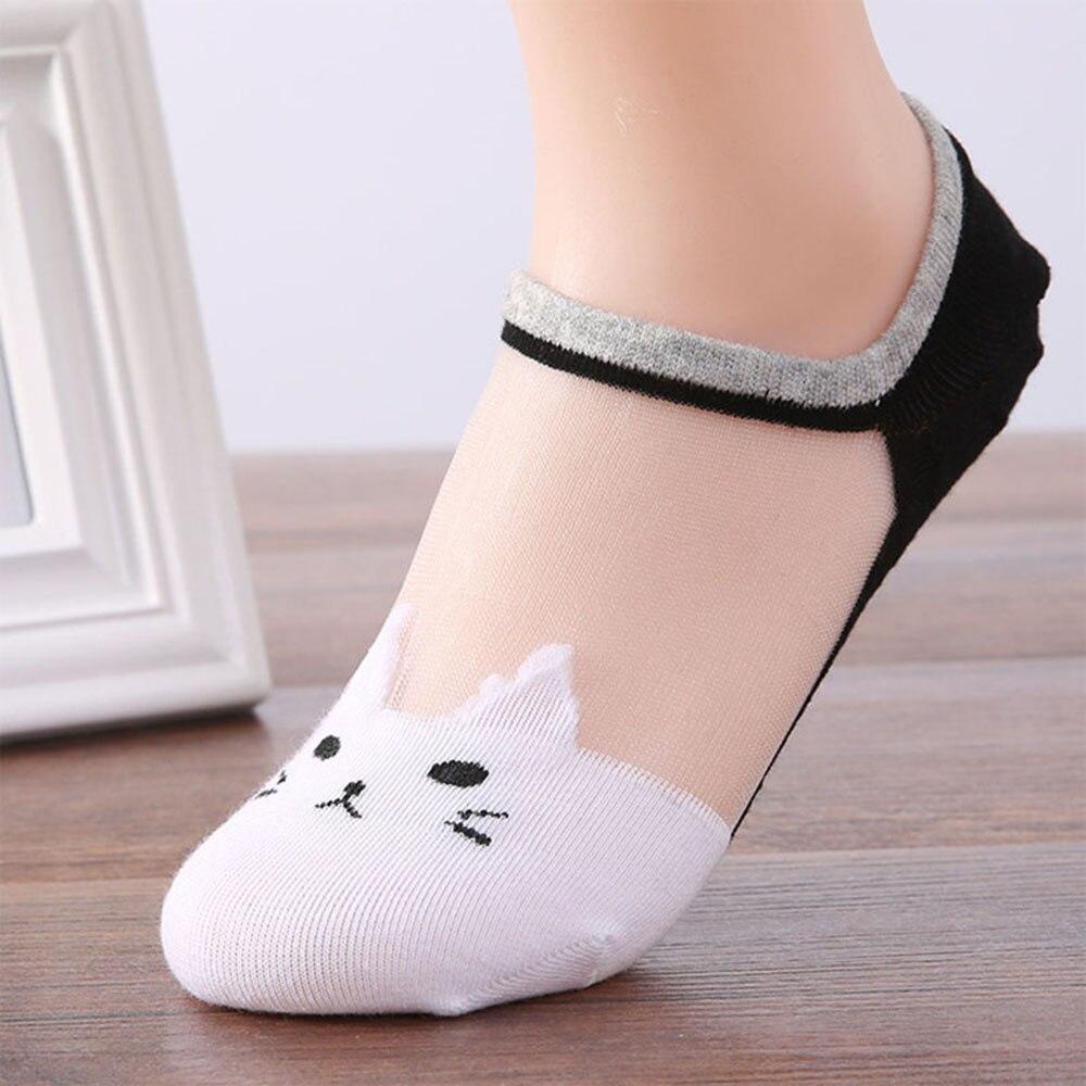 Лето-осень, женские новые носки с милым рисунком кота, прозрачные шелковые ультратонкие прозрачные носки, низкие носки до щиколотки, дропши...
