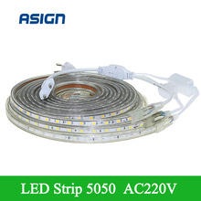 Hot Sale SMD 5050 Waterproof LED Strip 220V White/Warm White/Red/Green/Blue LED Flexible Strip Light With EU Plug