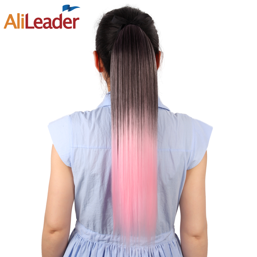 AliLeader Long Straight Ombre Pony Tail Hair Extensions 20 Inch 51Cm Clip In Synthetic Fake Hair Pieces And Ponytails