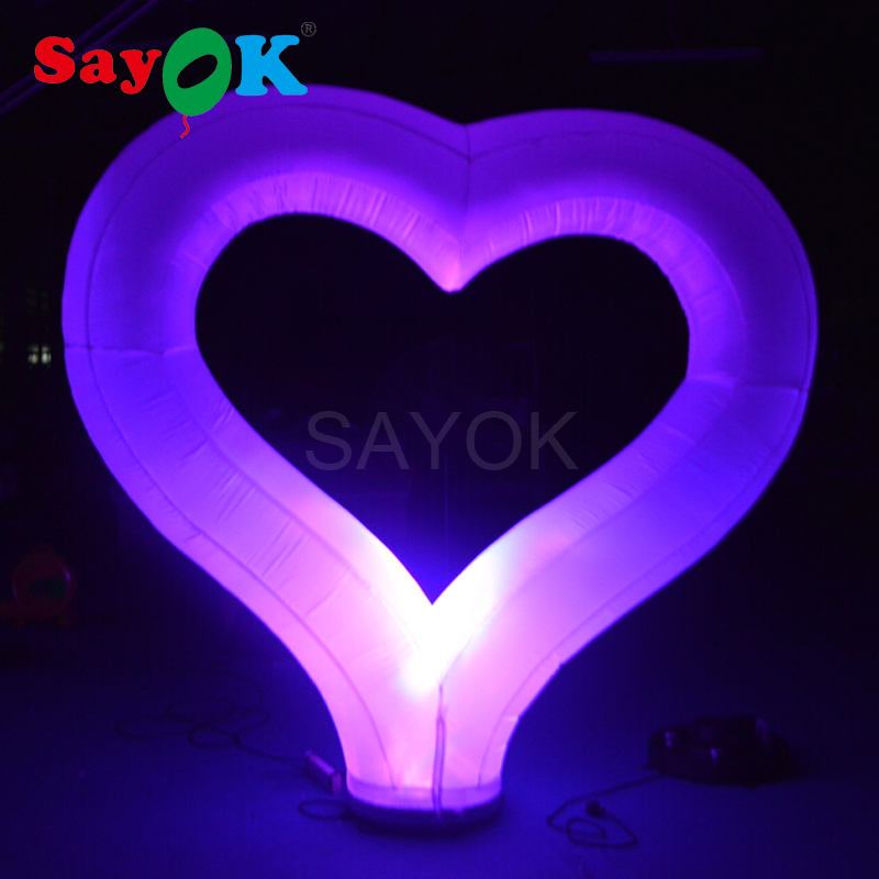 2m large inflatable heart with led lights for wedding pary