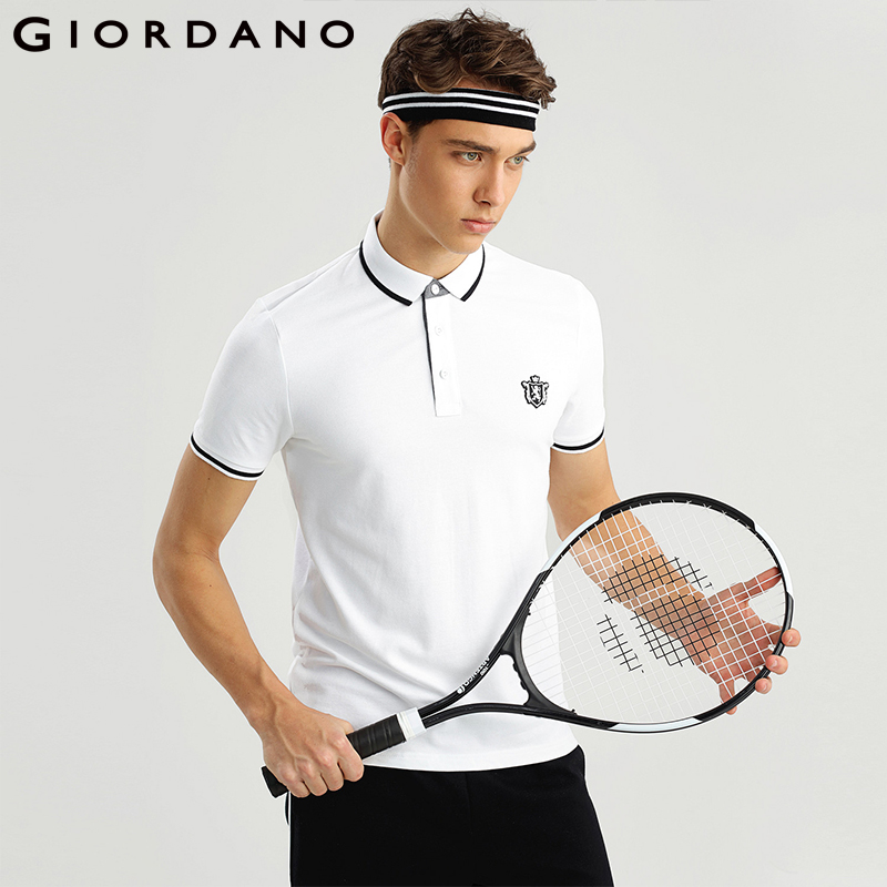 Giordano Men Polo Shirt Short Sleeves Ribbed Collar Polo Shirts Roundneck Lion Embroidery 3D Elastic Brand Clothes