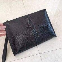 Kaisiludi camada de grãos de crocodilo saco de mão de couro de negócios homens saco envelope grande capacidade agarrar saco envelope moda