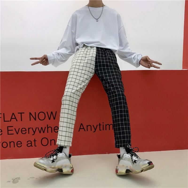 Neploe Vintage Plaid Patchwork Pants Harajuku Woman Man Trousers Elastics High Waist Pants Korean Causal Straight Checkerboard 19