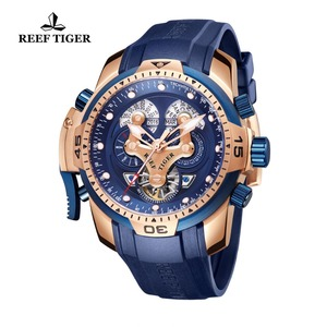 Image 2 - Reef Tiger/RT Top Brand Luxury Sport Watch Men Rose Gold Military Watches Blue Rubber Strap Automatic Waterproof Watches RGA3503