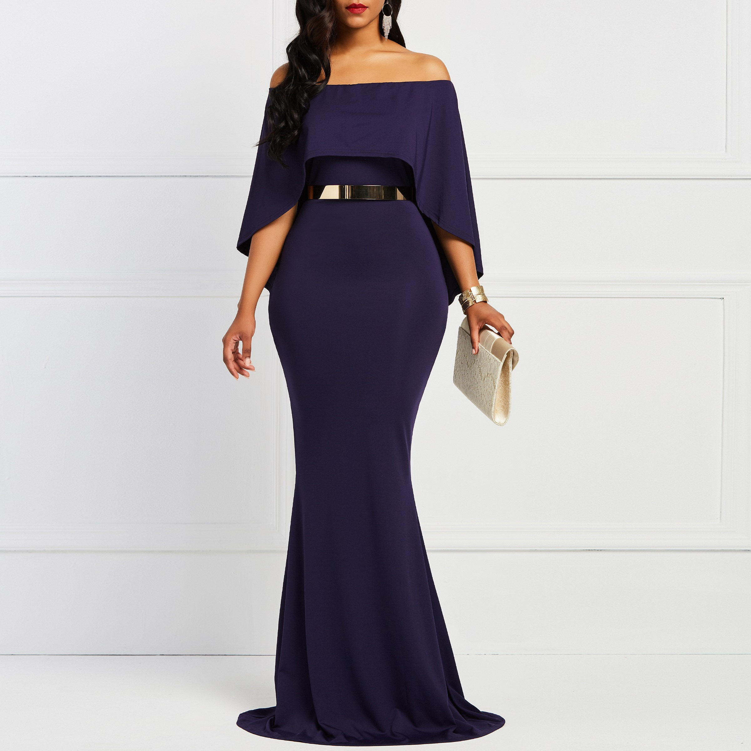 Christmas Dinner Dresses.Us 18 7 56 Off Batwing Sleeve Bodycon Slash Neck Women S Dress Navy Elegany Trumpet Evening Party Christmas Dinner Floor Length Maxi Dresses In