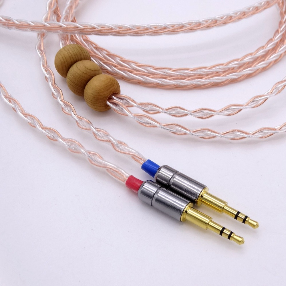 Headphone Upgrade Cable 1.2M 8 Cores 5N OCC Hybrid Silver Plated Cable For Hifman HE1000 HE400S He400i HE-X HE560 Oppo PM-1 PM-2 1 2 meter hi end 4 cores 5n occ silver plated headphone upgrade cable for etymotic er4p er4b er4s