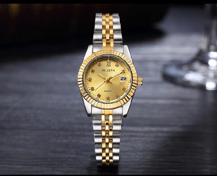 WLISTH роскошные золотые часы для женщин и мужчин, для влюбленных, нержавеющая сталь, Кварцевые водонепроницаемые мужские наручные часы для мужчин, аналог Авто Дата clcok - Цвет: Full Gold For Lady