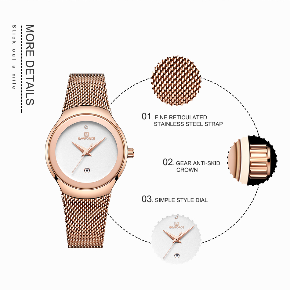 NAVIFORCE Women's Watches Fashion Girl Wristwatch Luxury Quartz Watch Women Stainless Steel Mesh Bracelet Clock Bayan Kol Saati (3)