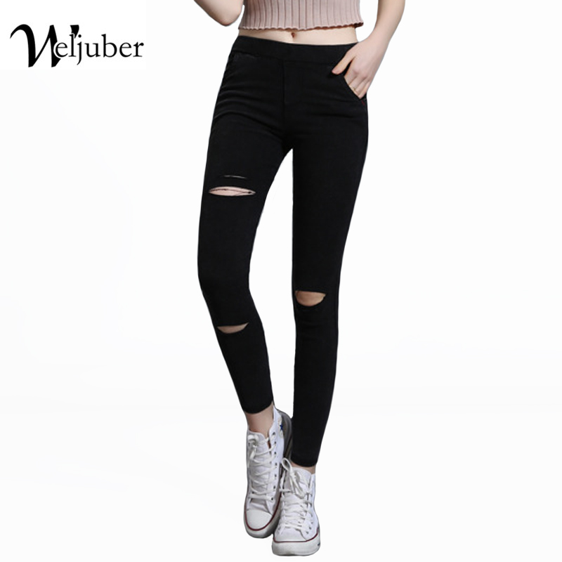 Weljuber Hole Wash Mid Waist Skinny Jeans Denim Ripped Black Jeans Women Jeggings Cool High Quality Casual Pencil Pants free shipping fashion women jeans loose ankle length ripped hole harem denim pants korean style casual mid waist femme trousers