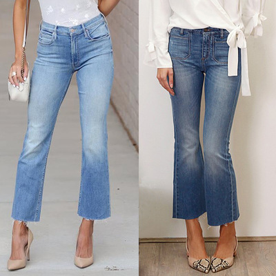 Women Summer Fashion Denim Jeans Femme Casual Slim Cropped Flare Jeans Skinny Jeans Woman