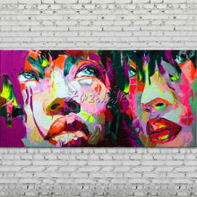 Palette knife portrait Face Oil painting Character figure canva Hand painted Francoise Nielly wall Art picture for living room30