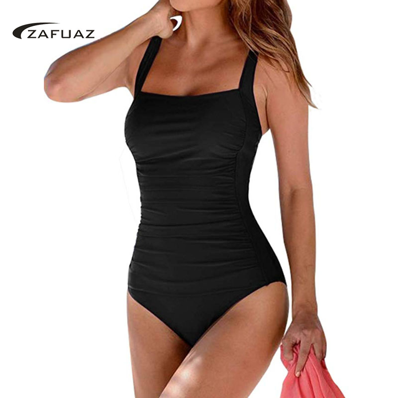2019 New Vintage One Piece Swimsuit Women Swimwear Bathing Suit Ruched Tummy Control Monokini Retro Plus Size BeachWear in Body Suits from Sports Entertainment
