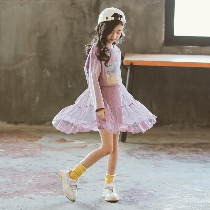 2018 New Casual Shirt Dress autumn Teenage Girls Long Sleeve cotton print Dress baby girl fall clothes big girls 10 12 13 14 15 casual long sleeve letter print sweatshirt dress