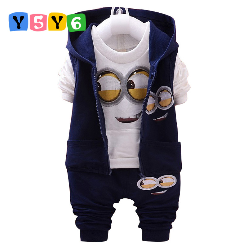 Hot style 2018 spring baby girls boys suits mignon / newborn clothing set kids vest + shirt + pants 3 pcs. sets children suits(China)