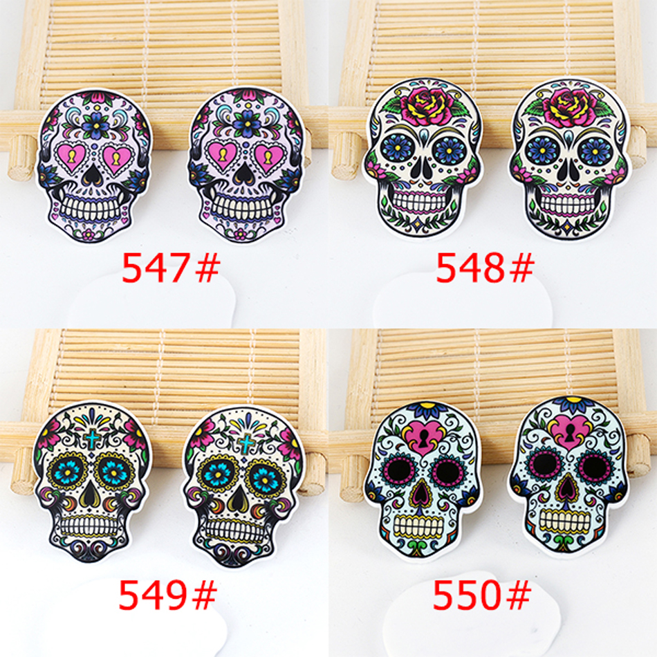 50pcs Mixed Cartoon Tattoo Skull Head Resin Flatback Assorted Planar Resin DIY Craft for Mobile Phone Decoration Accessories