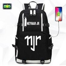 2019 Fashion Ronaldo Neymar USB Canvas Bag Backpack Large Capacity School For Students CR7 NJR Men Women Travel