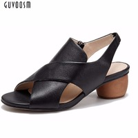 Guvoosm Women Black Casual Rubber Pump Zipper Shoes Women Genuine Leather Round Toe Ladies High Heels