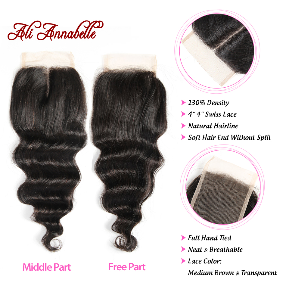 Image 5 - ALI ANNABELLE HAIR Brazilian Loose Wave Lace Closure Free Middle Part 4PCS Human Hair Bundles With Closure Remy Hair Extension-in 3/4 Bundles with Closure from Hair Extensions & Wigs