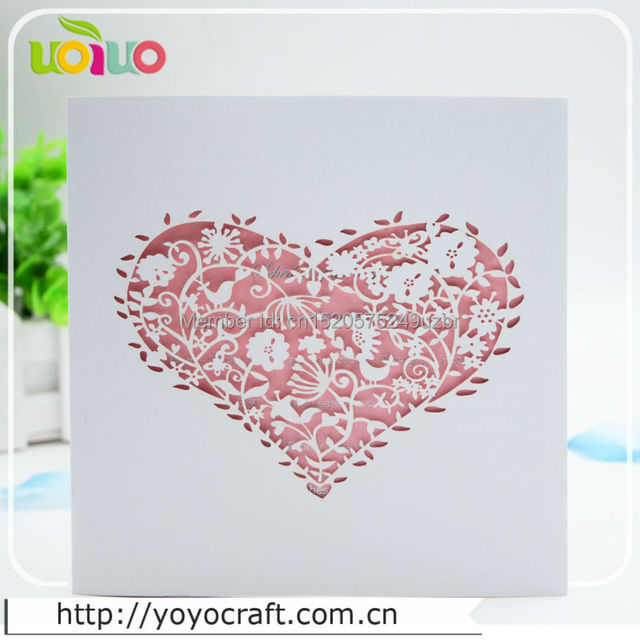 Free Sample White Papercrafts Heart Shape Indian Wedding Invitation Card Laser Cut Lace Simple Folded