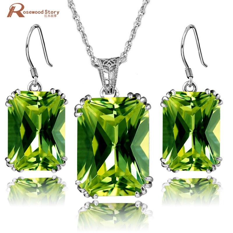100% 925 ensemble de bijoux en argent Sterling Olive créé péridot CZ ensembles de bijoux de fiançailles de mariage Style Vintage victorien