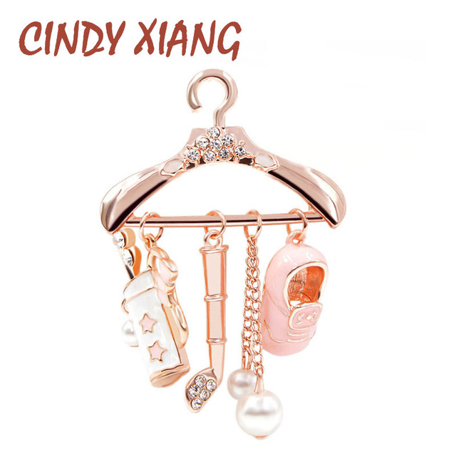 CINDY XIANG Cute Pink Hanger Brooches for Women Enamel Brooch Pins Fashion Jewel