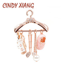 CINDY XIANG Cute Pink Hanger Brooches for Women Enamel Brooch Pins Fashion Jewelry Bijouterie Jacket Badges Pendants Broches(China)