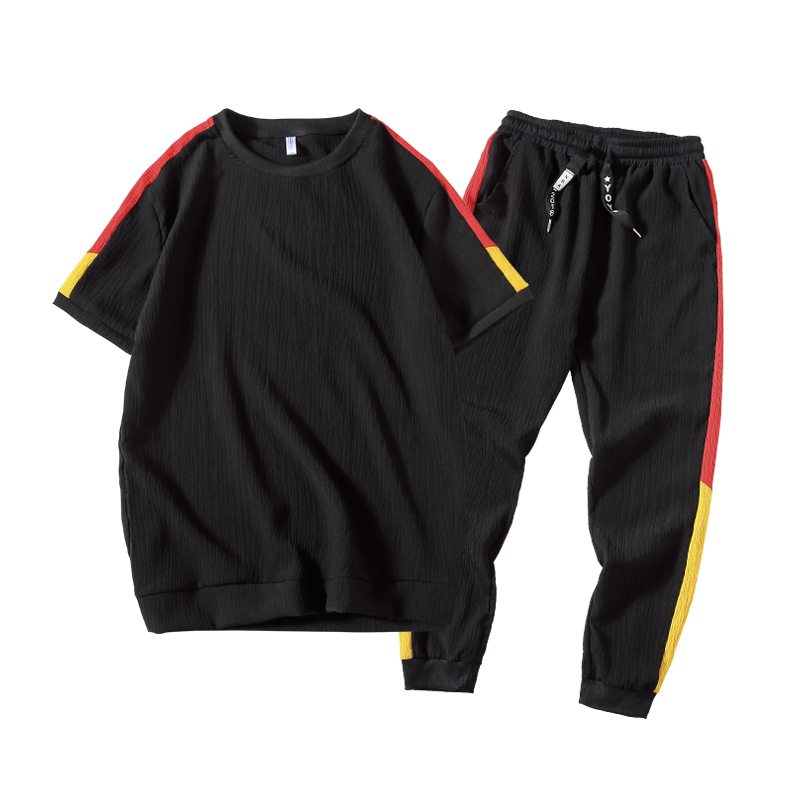 2018 Summer Tracksuits mens Sets Sportswear Shorts Set Short Sleeve Sweatshirt+Pants Sporting trousers T-shirt two-piece