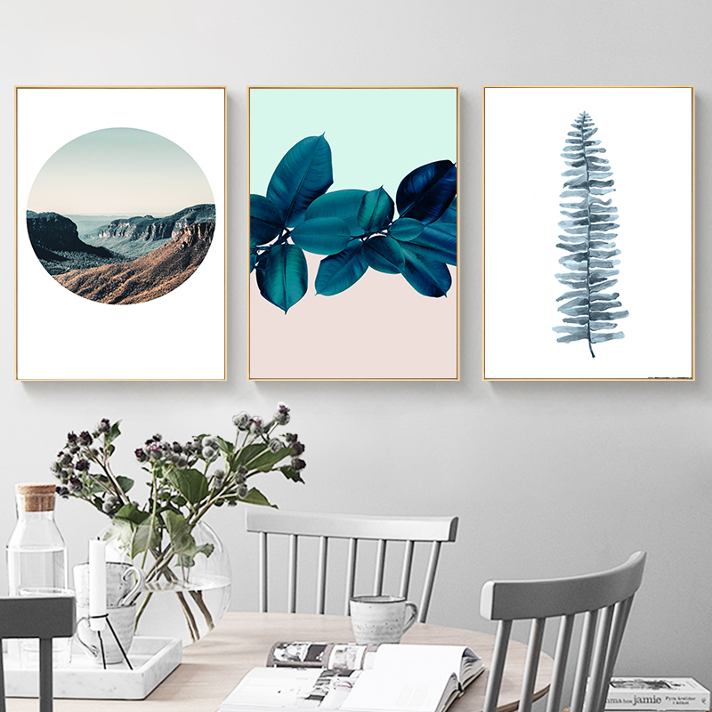 Scandinavian Style Leaves Flower Posters and Prints Scenic Landscape Canvas Poster for Living Room Nordic Decoration Home in Painting Calligraphy from Home Garden