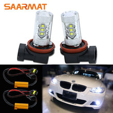 Pair H8 H9 H11 White 80W w CREE Chips Fog Light DRL Daytime Running Lamp Canbus