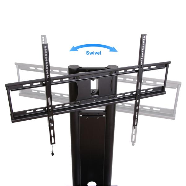 Mobile TV Stand with Mount for up to 65 inch height adjustable Flat Panel Screens up to 132lbs (Black) TT211201MB
