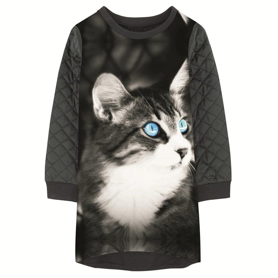 Girls Dresses animal cat nice Print baby Kids Clothes grid