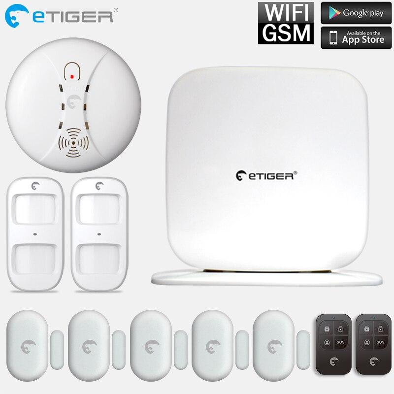 Etiger GSM WiFi Intruder Burglar Alarm Security System GSM Alarm Fire alarm Smoke detector s3b network camera etiger intruder burglar alarm gsm sms alarm s4 gsm sms alarm system