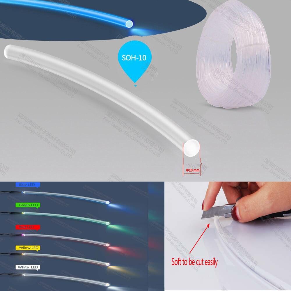 Doux 10mm pmma fin glow light-transfert fusionadora de fibra optica câble optique fiber pour RGB émetteur de lumière