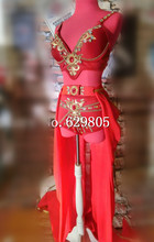 3 Pieces Set Stage Dance Wear Outfit Party Dress Costume Stage Clubwear Red Bra Short Skirt Singer Jazz Dancing Clothing Set