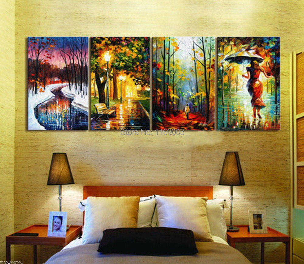 4 piece modern canvas abstract hand decorative colorful four season palette font b knife b font