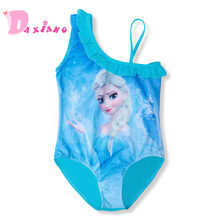 3-10Y Baby Girls One pieces Swimsuit Bikini Cute Anna Elsa Princess Dress Cartoon Pattern Bathing Suits Swimwear Bikini Bodysuit(China)