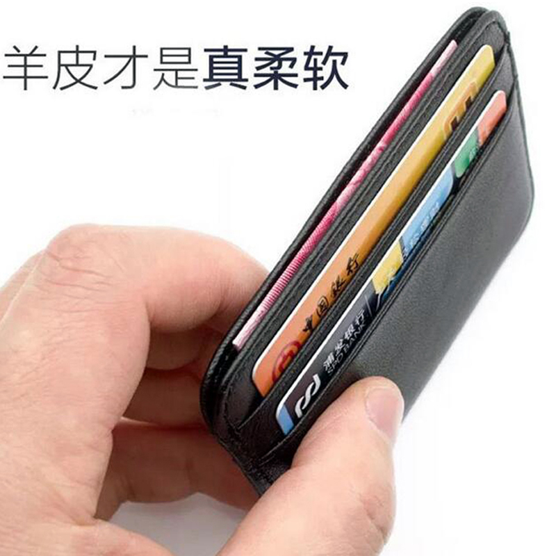 Famous Brand Genuine Leather Slim Credit Card Holder Men
