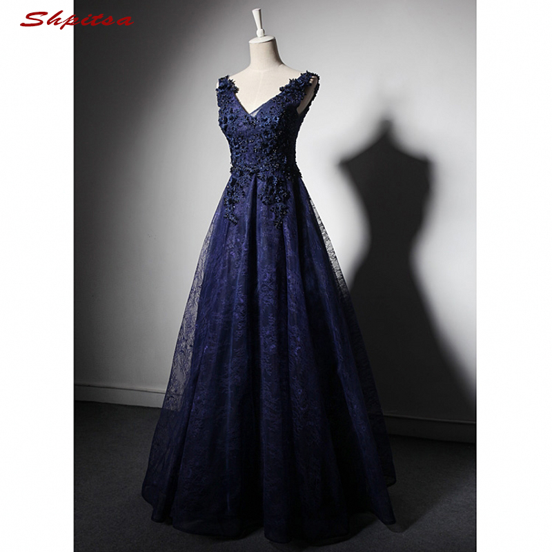 Navy Blue Long Lace Evening Dresses Party Beaded A Line Women ...