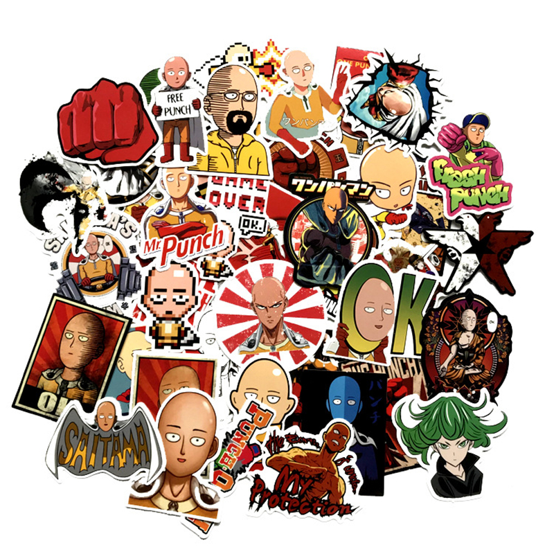 50 Pcs/Set Japan Anime One Punch Man Saitama Series Stickers For Notebook Pc Skateboard Bicycle Car Diy Toy Sticker Cosplay Prop