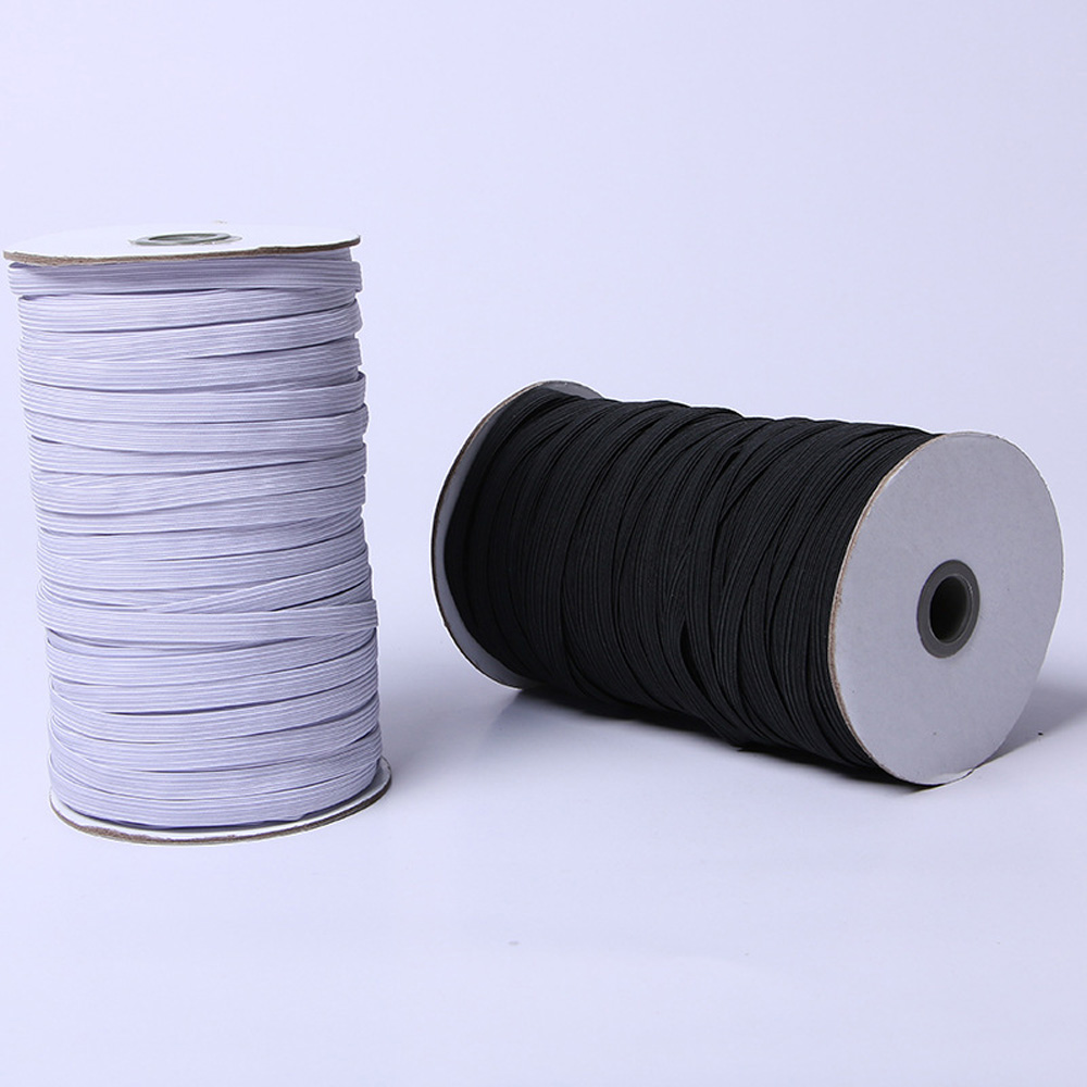 Jedulin Black and White Stretch Knit Flat Elastic Cord Elastic Band Elastic Rope Bungee Elastic Spool Sewing Band 1//8 Wide 120 Yards Each Roll