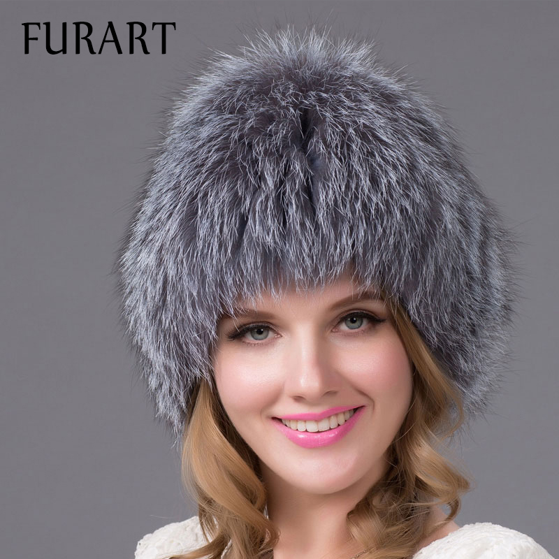 Women's winter fur hat raccoon fox fur ear protector cap with fur pom poms with lining warm Knitted fur hat good quality HHY-14 new star spring cotton baby hat for 6 months 2 years with fluffy raccoon fox fur pom poms touca kids caps for boys and girls