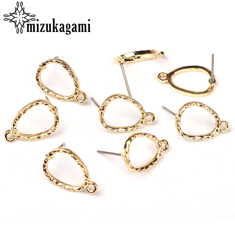 цена 20pcs/lot 10mm Gold Zinc Alloy Hollow Water Drop Earring Base Connectors Linker For DIY Earrings Jewelry Making Accessories