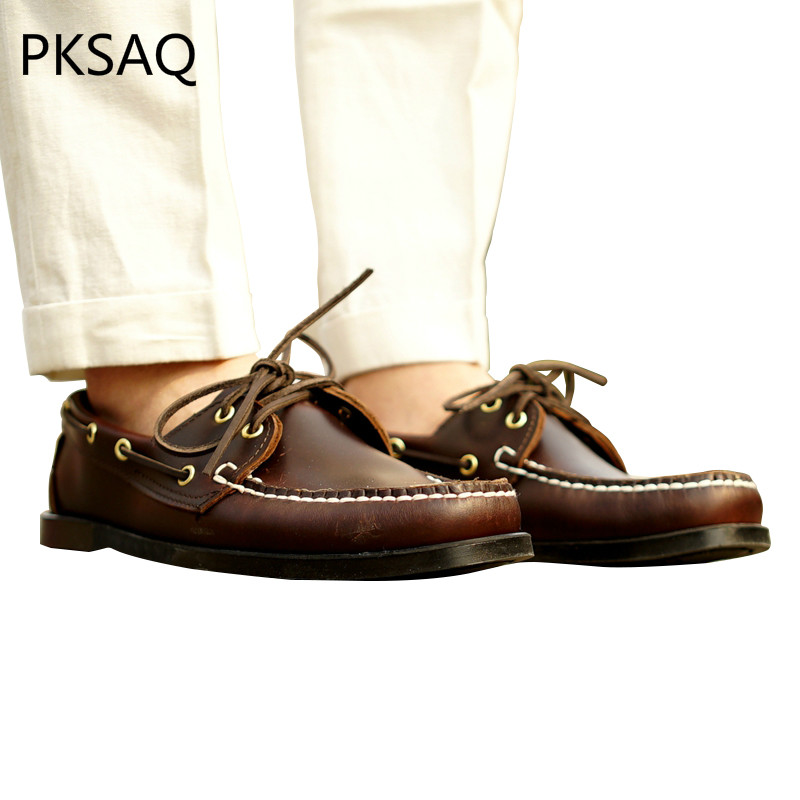 Spring Autumn Men Boat Shoes Classic Dark Brown Leather Casual Shoes Business Lace Up Round Toe Breathable Flat Men's Shoes