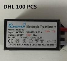 DHL 100pcs/lot hot sale Power 50w Electronic Transformer AC 220V - 12V LED Halogen Light Bulb Lamp Power Supply Driver 50w two 12v power supply transformer input 220v 50hz output two 12v 1kg