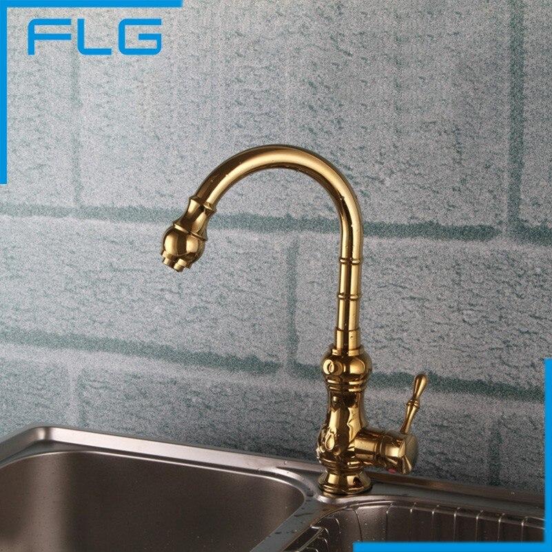 ФОТО Free Shipping Brass torneira cozinha Golden kitchen faucet/single handle Gold finish basin sink mixers taps