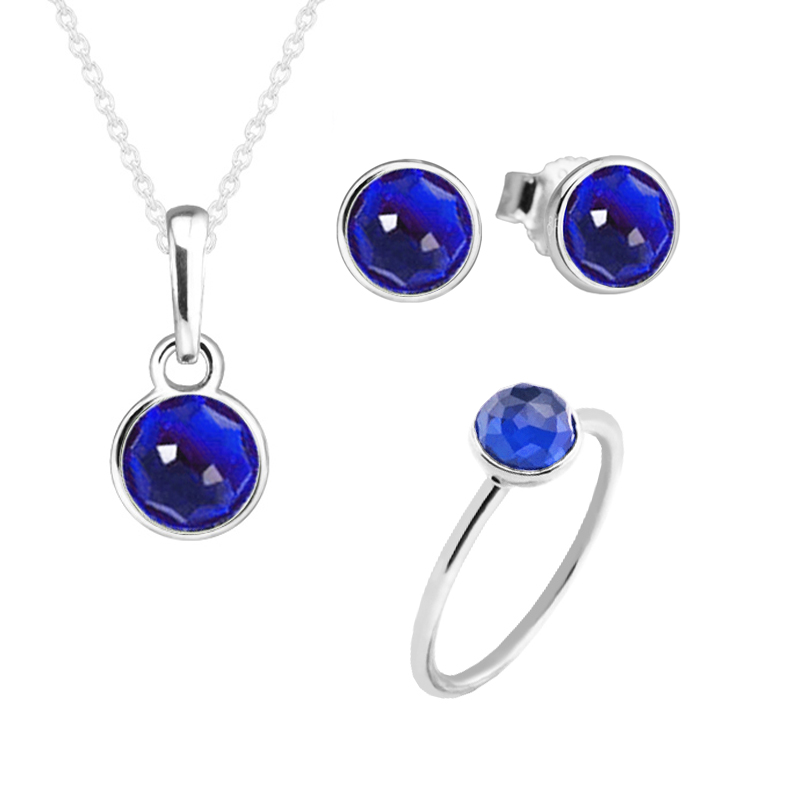 December Droplet Ring Necklace Stud Earrings 100% 925 Sterling Silver London Blue Crystal Jewelry Set for Women Gift PSR012 women s fashionable peafowl style crystal inlaid necklace earrings jewel set blue silver