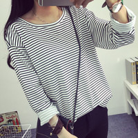 New Students All Match Color T Shirt Bottoming Shirt Loose Long Sleeved Striped T Shirt